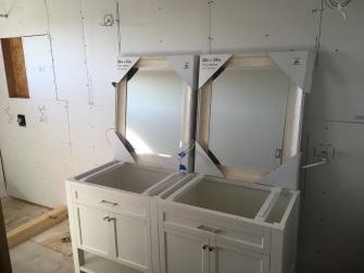 Test fitting the double vanity plumbing