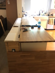 Half the countertop in