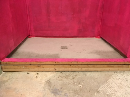 Don't forget extra waterproofing for the shower curb!