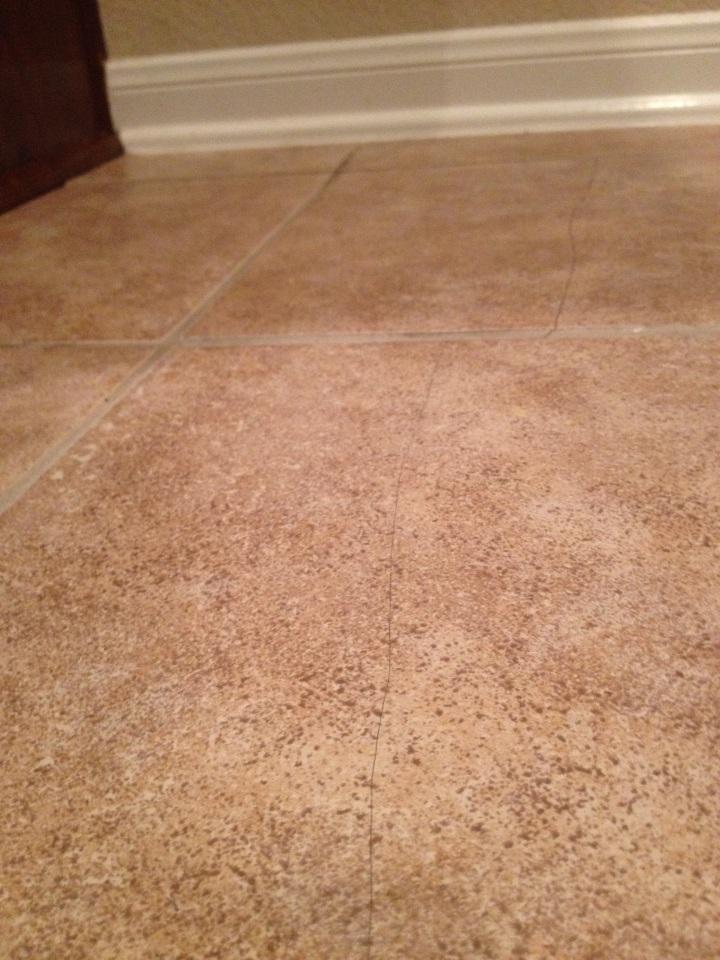 cracked ceramic floor tile